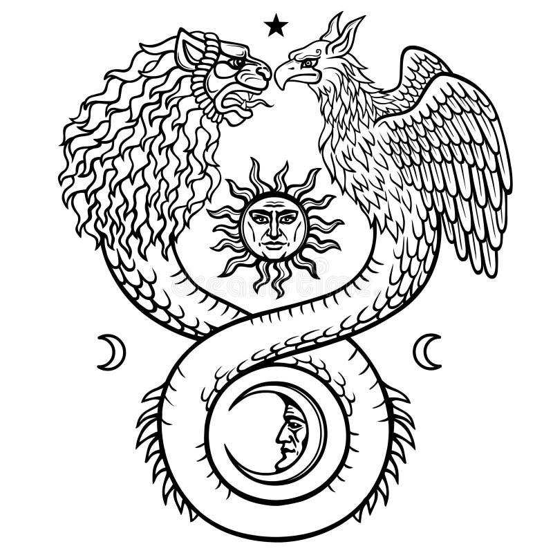 意想不到的动物ouroboros的图象与蛇和狮子和鸟的两个头的身体的 月亮和太阳的标志 向量例证