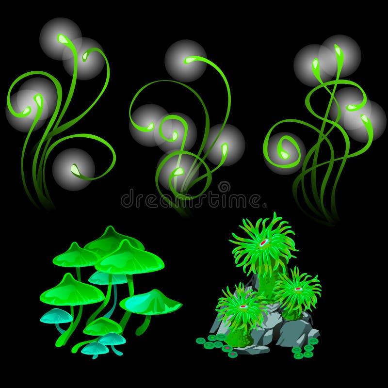 意想不到的发光的蘑菇和珊瑚虫 向量例证