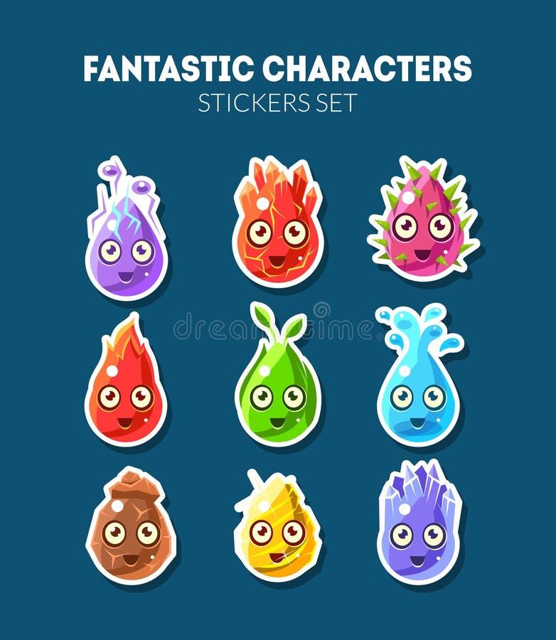 意想不到的字符贴纸设置了,逗人喜爱的滑稽的幻想五颜六色的生物传染媒介例证 库存例证