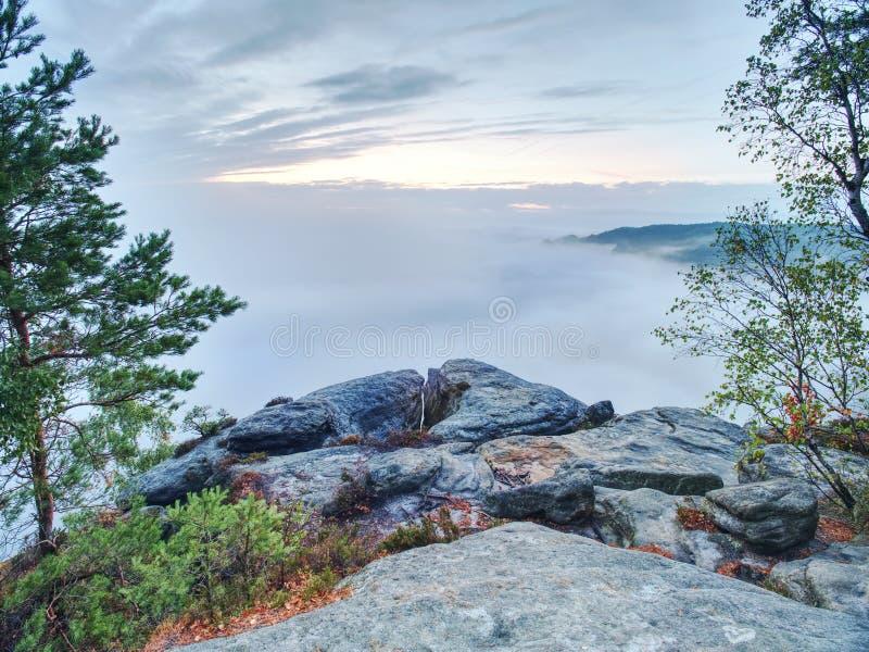 意想不到的山风景、超现实的桃红色和紫色雾 免版税库存照片