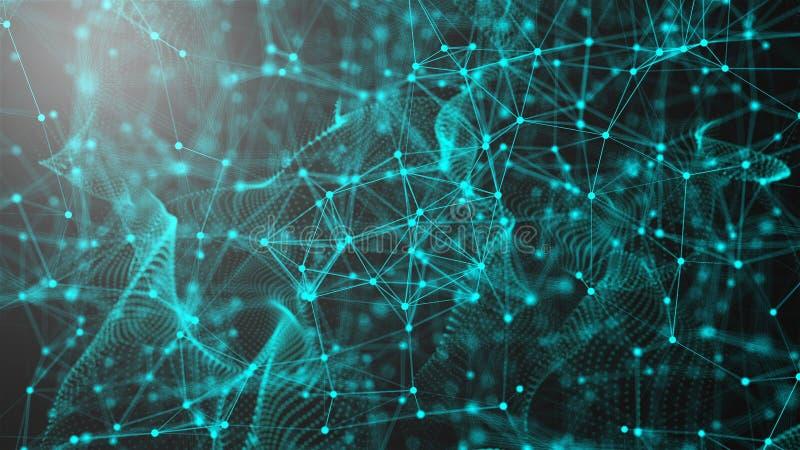 意想不到的抽象技术,空间与可以连接的小点和线,连接结构背景,3d翻译 向量例证