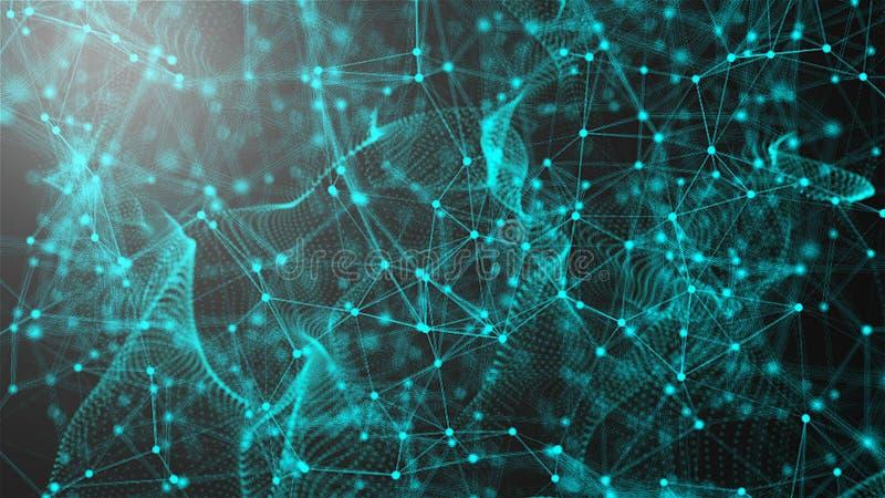 意想不到的抽象技术,空间与可以连接的小点和线,连接结构背景,3d翻译 皇族释放例证
