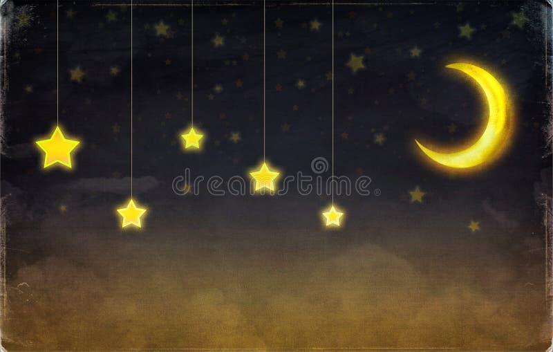 意想不到的月亮和星 库存例证