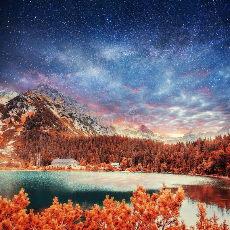 意想不到的湖在低Tatras国家公园 库存图片