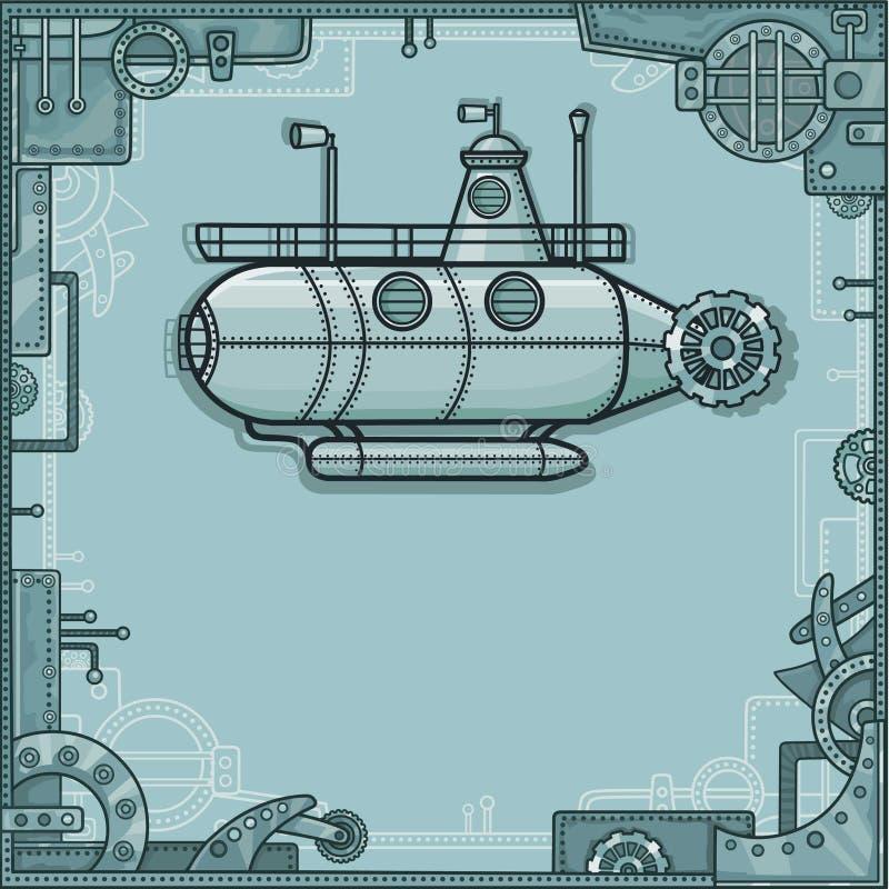 意想不到的潜水艇 背景-从金属细节的一个框架,铁机制 皇族释放例证