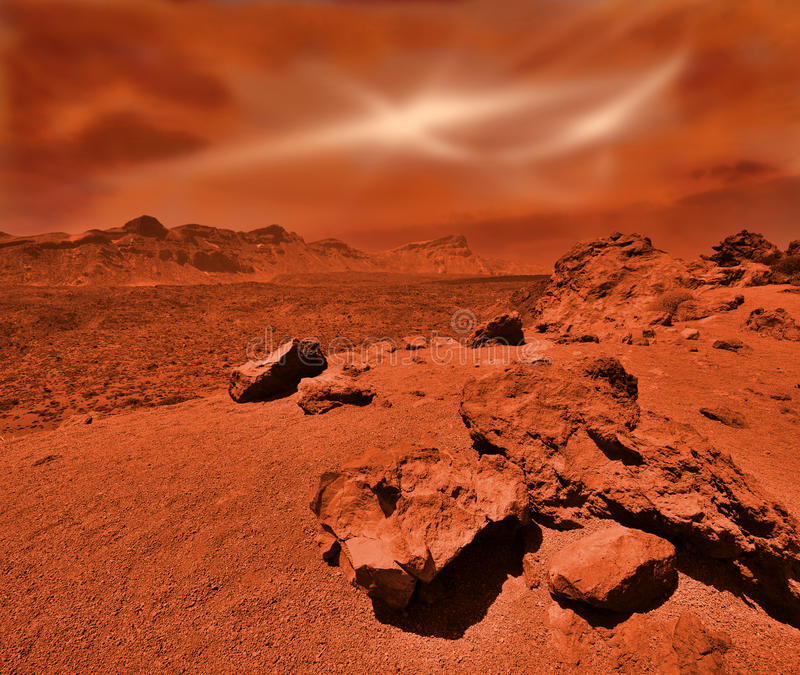 意想不到的火星的风景 图库摄影