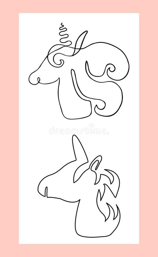 意想不到的生物,神秘的动物线性剪影  独角兽外形图  向量例证
