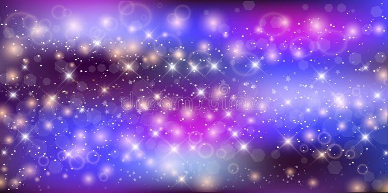意想不到的繁星之夜天空星系长方形背景 皇族释放例证