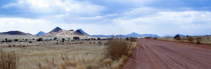 意想不到的纳米比亚moonscape风景全景  免版税库存照片