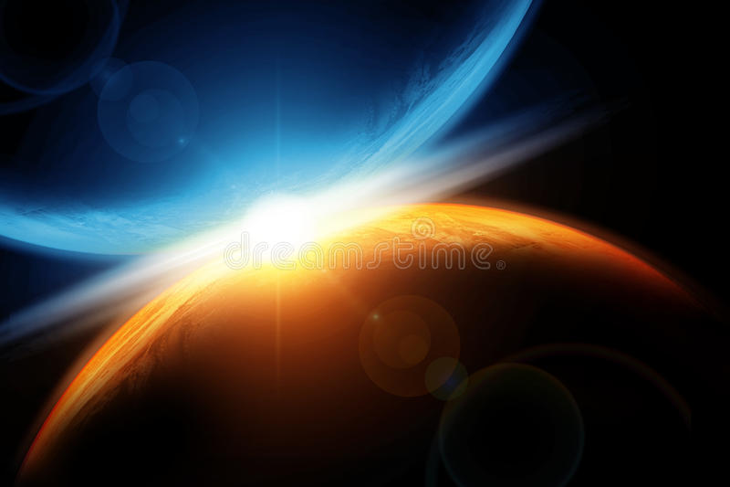 意想不到的背景燃烧的和爆炸的行星地球,地狱,小行星冲击,发光的天际 皇族释放例证