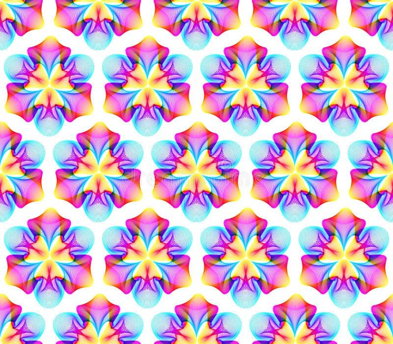 意想不到的霓虹花无缝的样式,与许多的抽象形状混和的线 向量例证