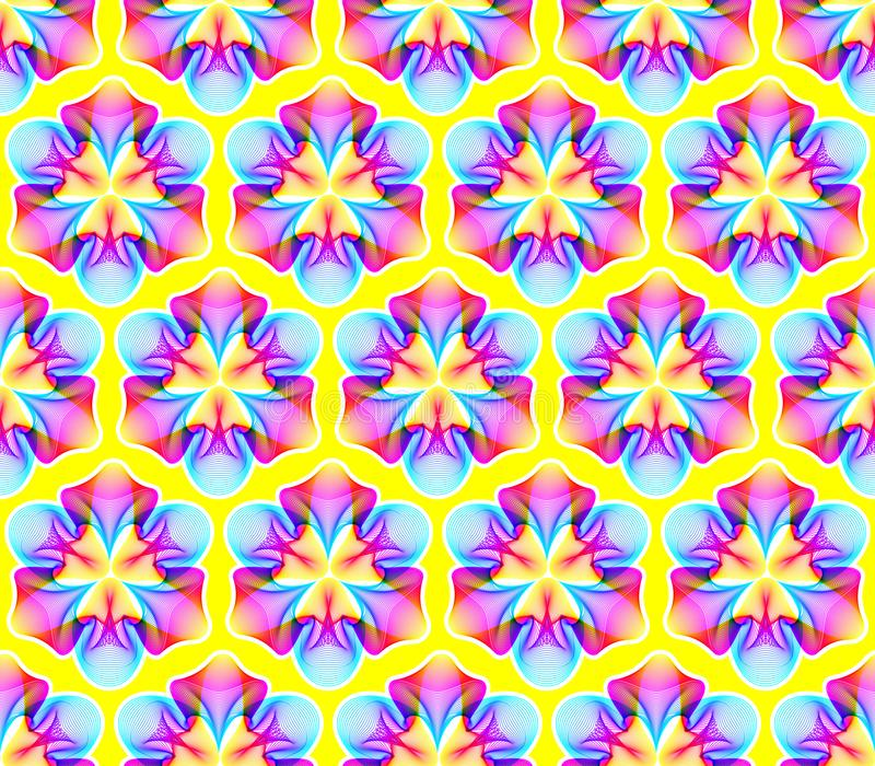 意想不到的霓虹花无缝的样式,与许多的抽象形状混和的线 库存例证