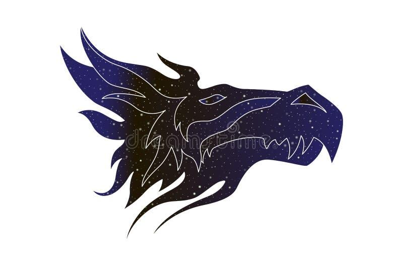 意想不到的龙风格化头 传染媒介线不可思议的动物例证,夜空在白色背景隔绝的颜色剪影 皇族释放例证