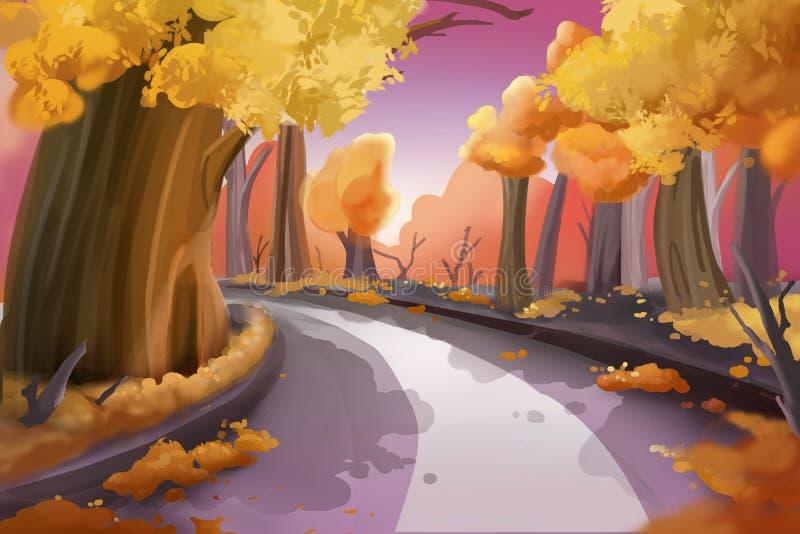 意想不到的水彩样式绘画:森林公路 向量例证