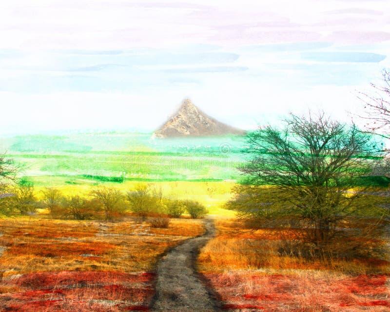 意想不到的水彩风景,在上面的路, 免版税库存照片