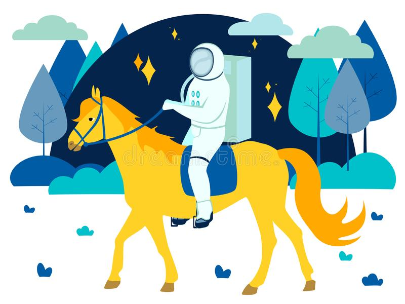 意想不到,宇航员骑一匹黄色马 r 皇族释放例证