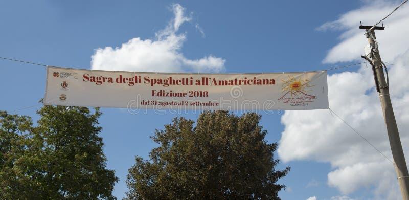 意粉节日所有` amatriciana -阿马特里切-意大利 免版税库存图片