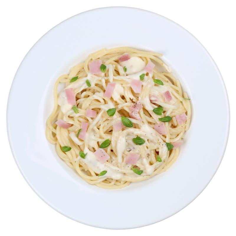 意粉Carbonara面条被隔绝的面团膳食 库存图片