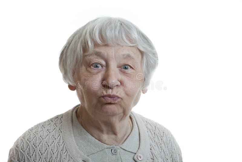 愚蠢的高级妇女 免版税库存图片