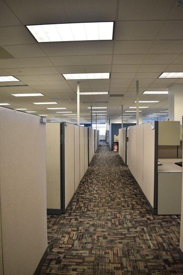 愚钝的空的办公室走廊在有中立颜色的一个立方体农场 免版税库存照片