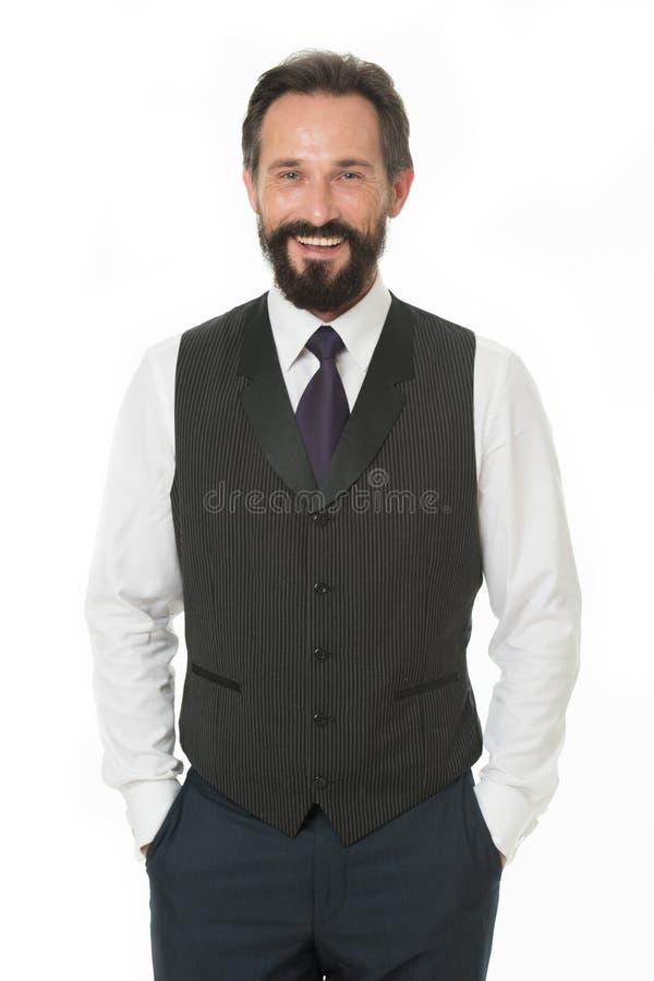 感到确信对他的样式 在口袋的商人经典正式衣服举行手 商人选择正式 免版税图库摄影