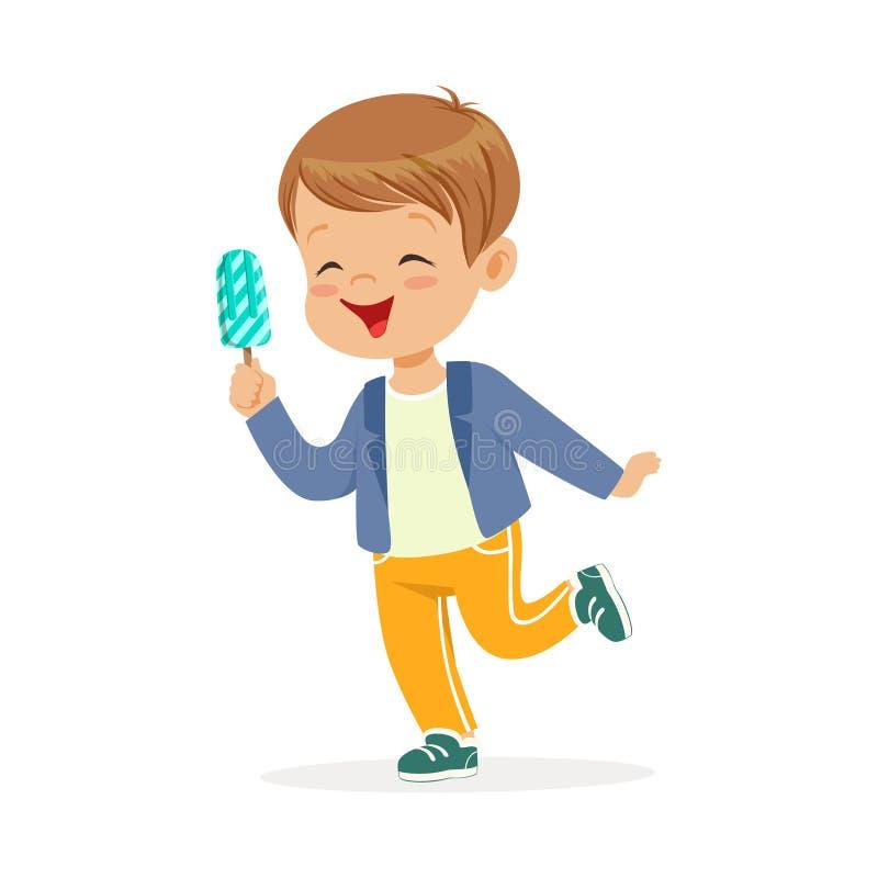 感到逗人喜爱的小男孩的字符满意对他的冰淇凌动画片传染媒介例证 向量例证