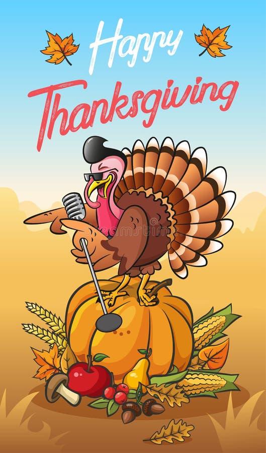 感恩与凉快的唱歌火鸡身分的贺卡在tne南瓜 向量例证