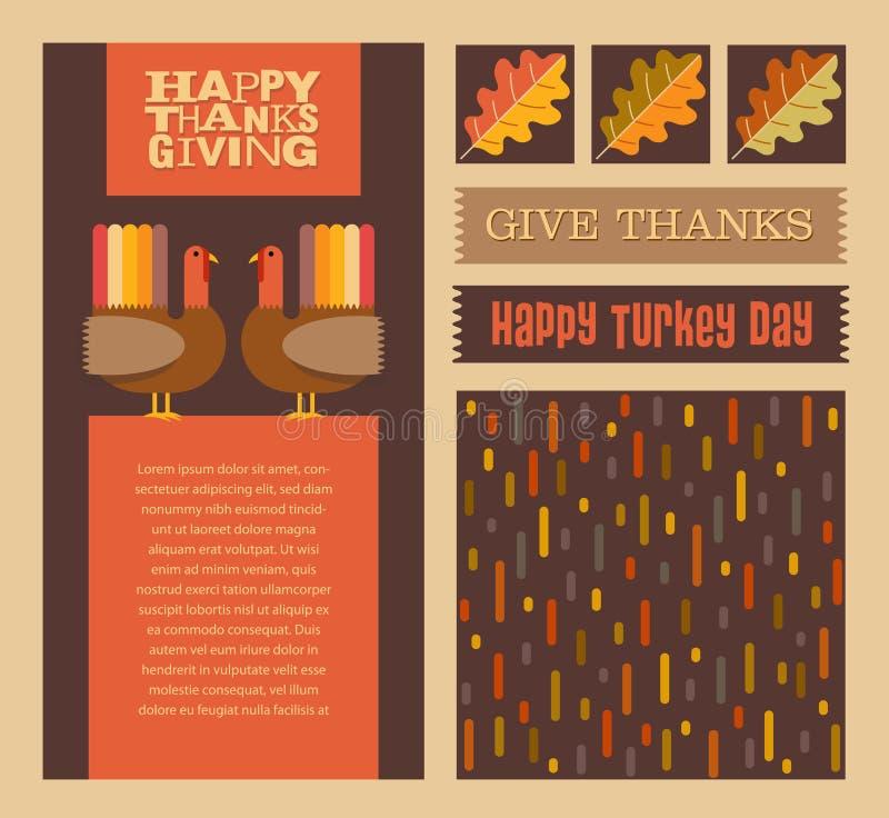 感恩和秋天设计与协调的背景样式的元素 向量例证