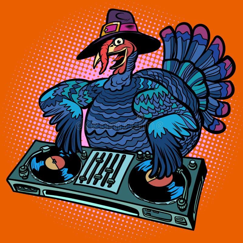 感恩土耳其字符 节日晚会的DJ 库存例证