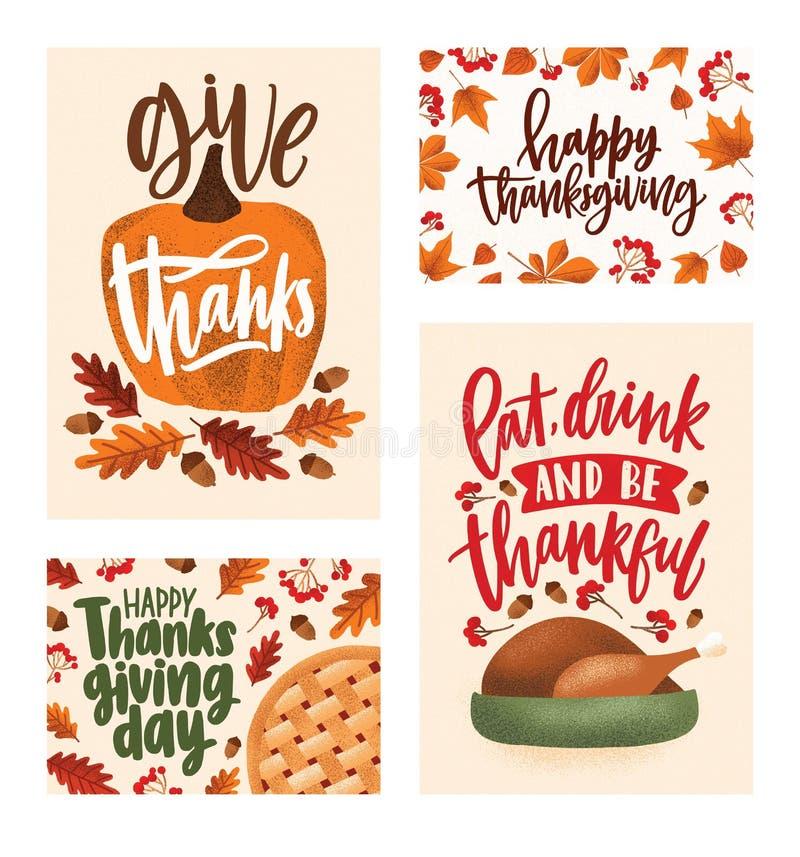 感恩天与典雅的书面字法的贺卡和明信片模板,秋叶的汇集 向量例证