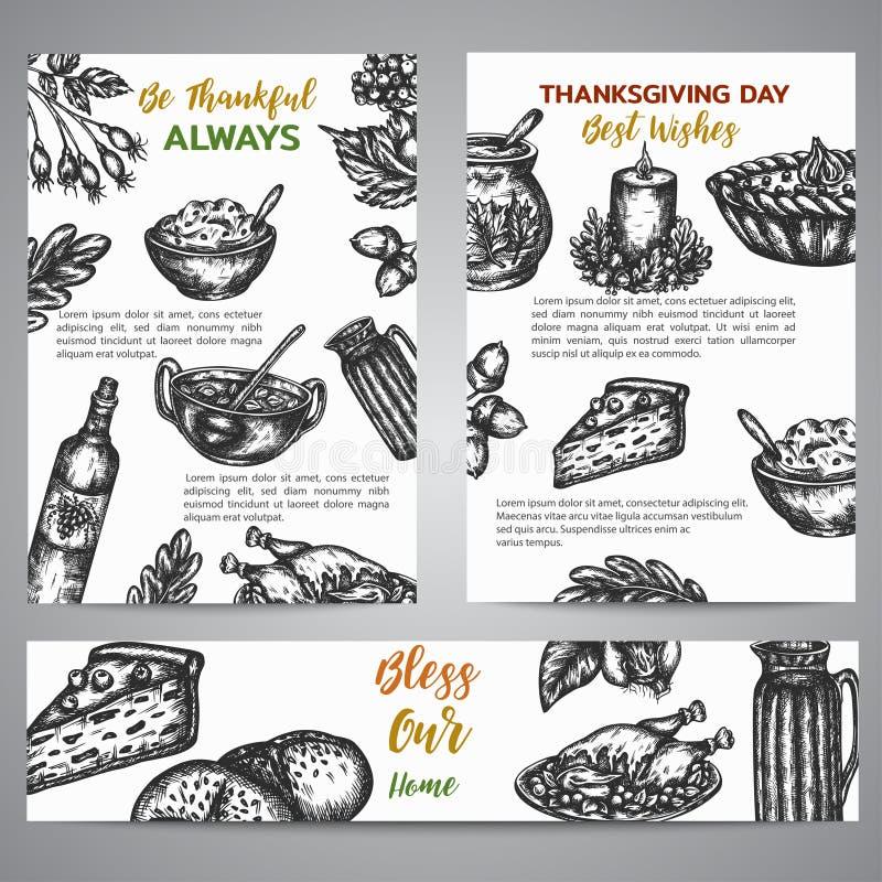 感恩天小册子汇集手拉的传染媒介例证用火鸡、秋天元素和pumpking的葡萄酒 库存例证