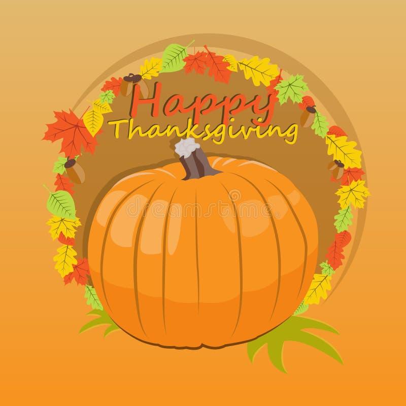 感恩天横幅与南瓜的一张祝贺的题字和图片的 也corel凹道例证向量 库存例证