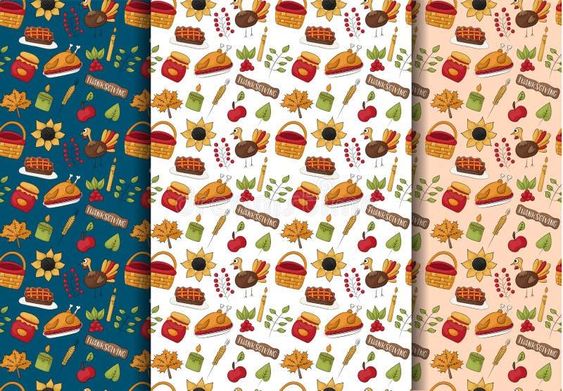 感恩无缝的样式背景集合 传统假日食物收获装饰 重复盖子的背景,包裹pap 向量例证