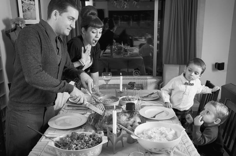 感恩晚餐土耳其家庭 免版税库存图片