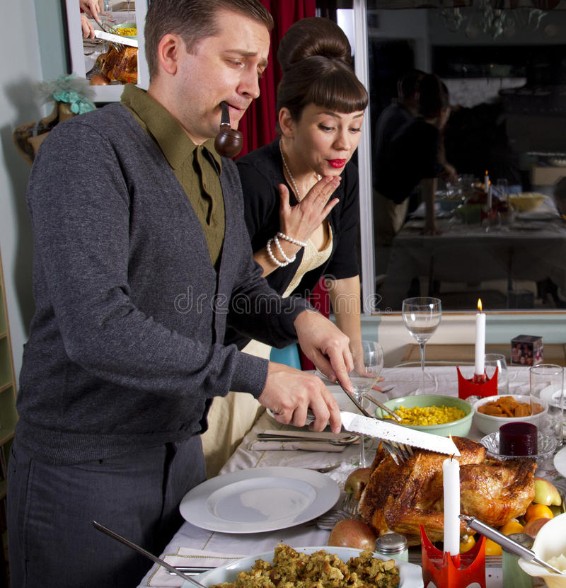 感恩晚餐土耳其雕刻 库存图片