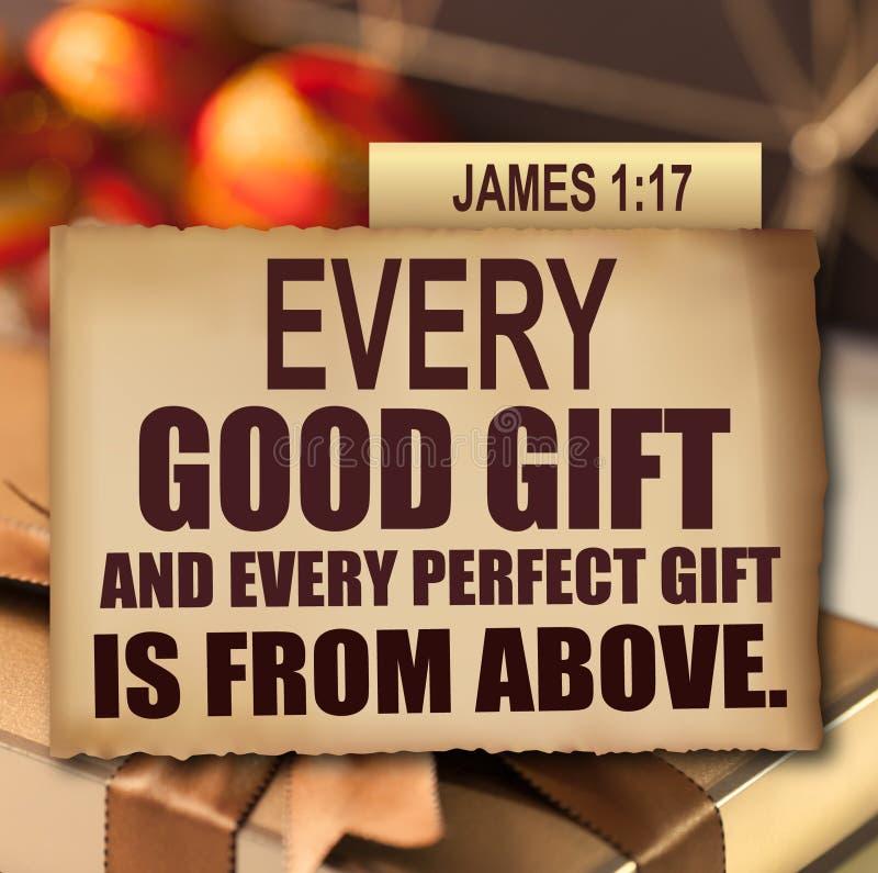 感恩詹姆斯1:17 库存照片