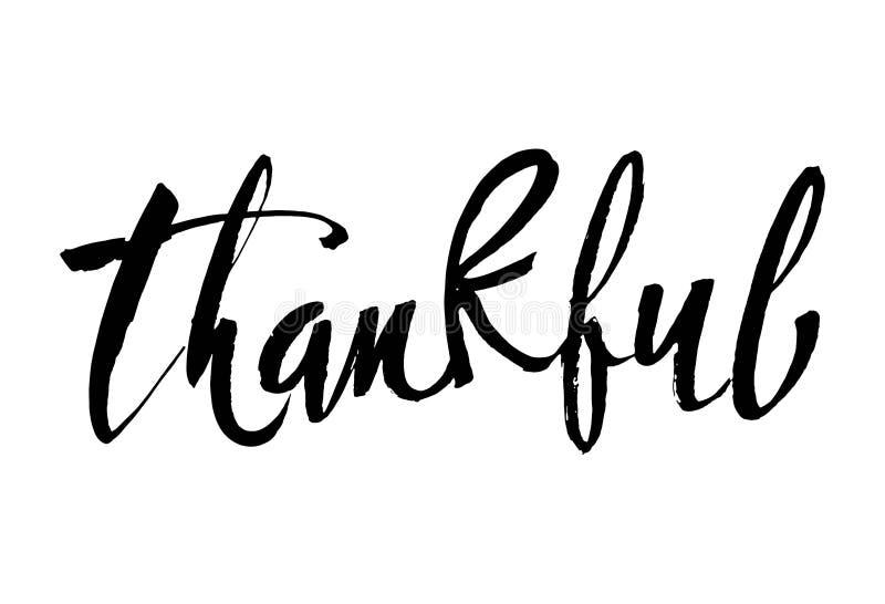 感激的感恩节简单的字法 书法明信片或海报图形设计字法元素 手 皇族释放例证