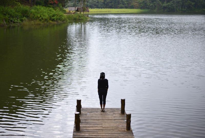 感觉在桥梁的妇女战胜饰面在湖, 免版税库存照片