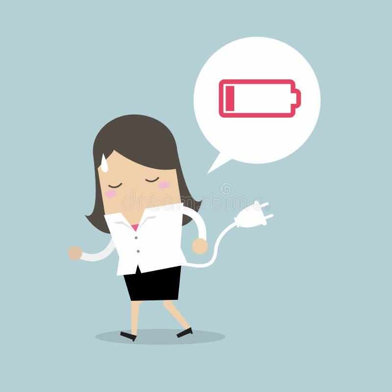 感觉的女实业家疲倦的和低功率电池 向量例证