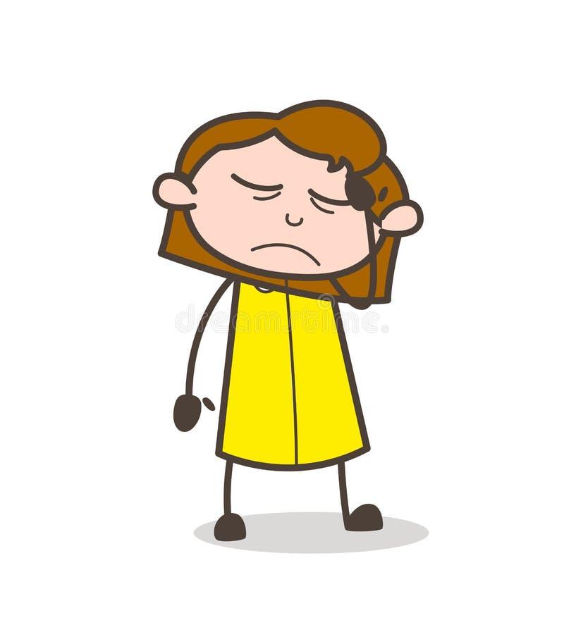感觉非常病态的传染媒介的生气女孩 向量例证