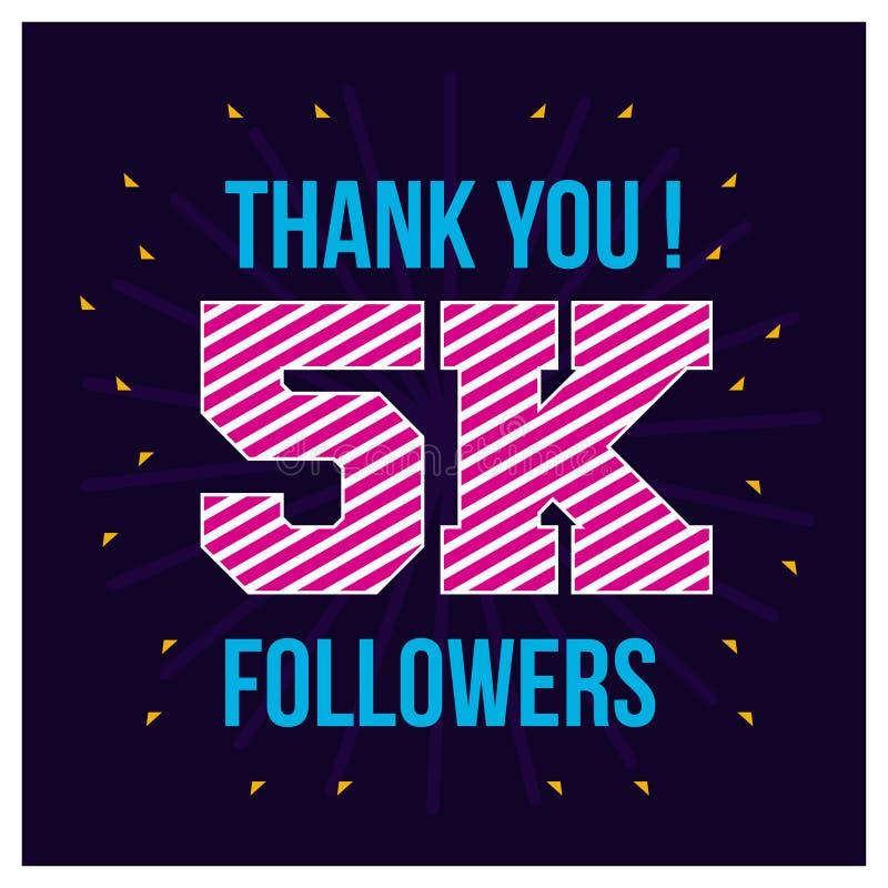 感谢5000个追随者 谢谢30K追随者在波浪背景的祝贺卡片 r 库存例证