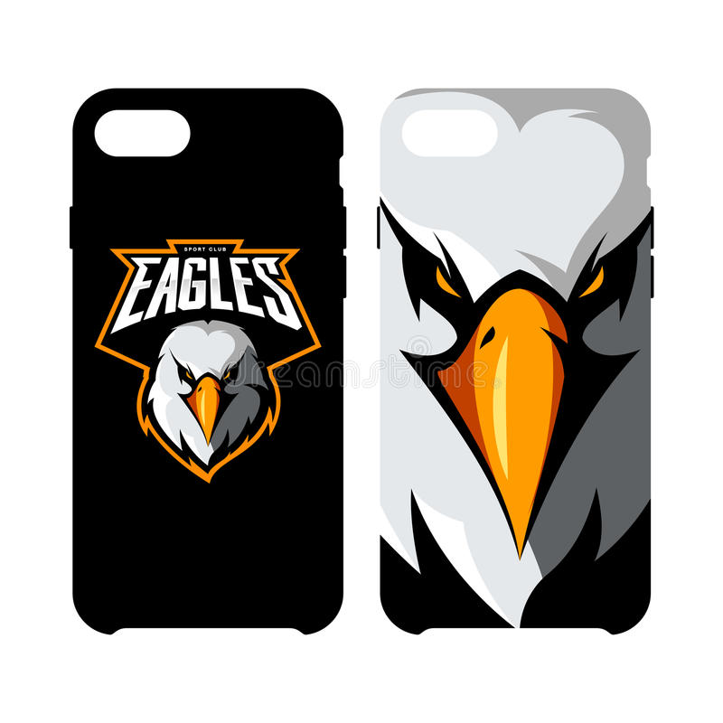 愤怒的在聪明的电话盒隔绝的老鹰头运动俱乐部传染媒介商标概念 皇族释放例证
