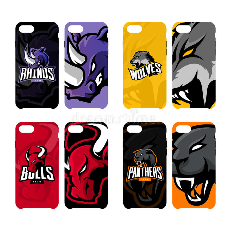 愤怒的犀牛、狼、公牛和豹炫耀传染媒介商标概念聪明的电话盒 皇族释放例证
