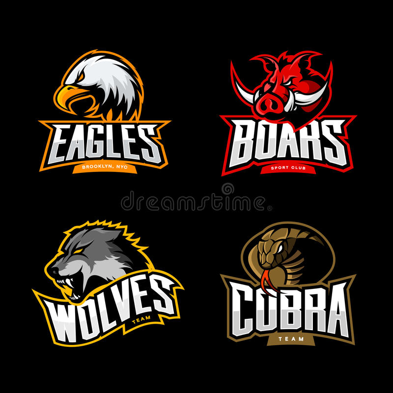 愤怒的眼镜蛇、狼、老鹰和公猪体育传染媒介商标概念在黑暗的背景设置了 皇族释放例证