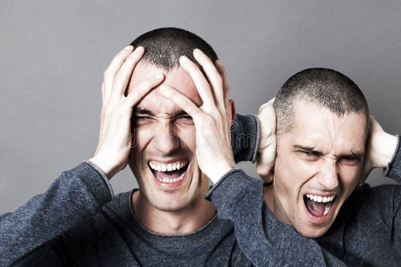 愤怒,男性头疼,烧光或者疯狂的双极行为 库存图片
