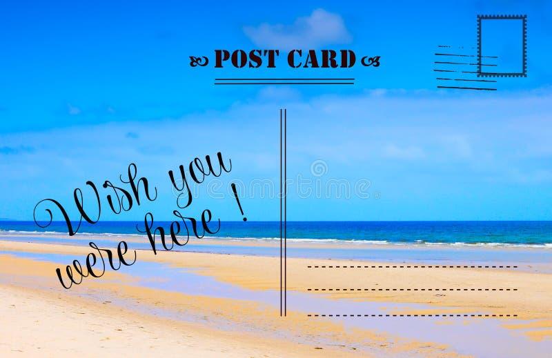 愿望您在这里暑假明信片 免版税库存图片