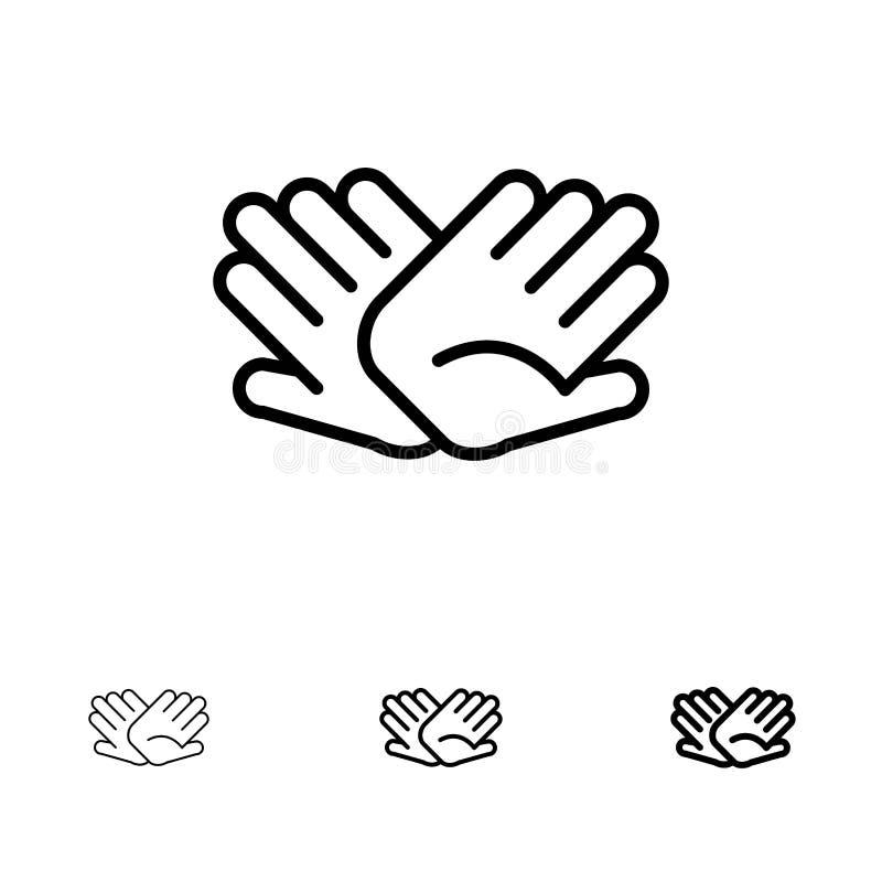 慈善、手,帮助,大胆帮助的联系和稀薄的黑线象集合 皇族释放例证