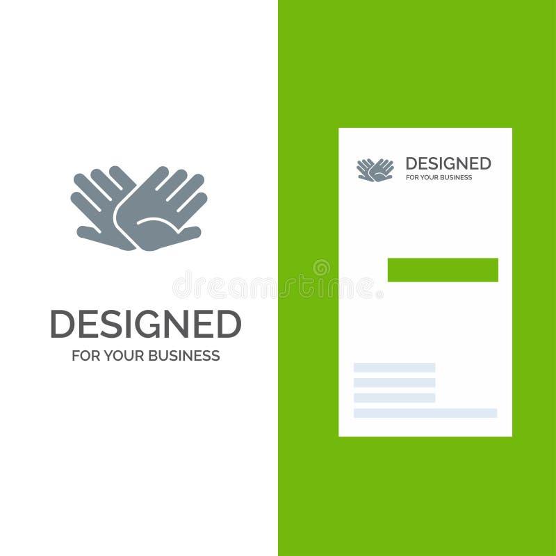 慈善、手,帮助,帮助,联系灰色商标设计和名片模板 向量例证