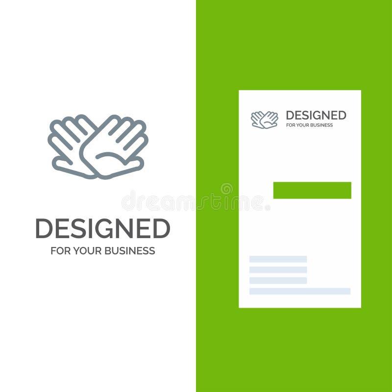 慈善、手,帮助,帮助,联系灰色商标设计和名片模板 库存例证