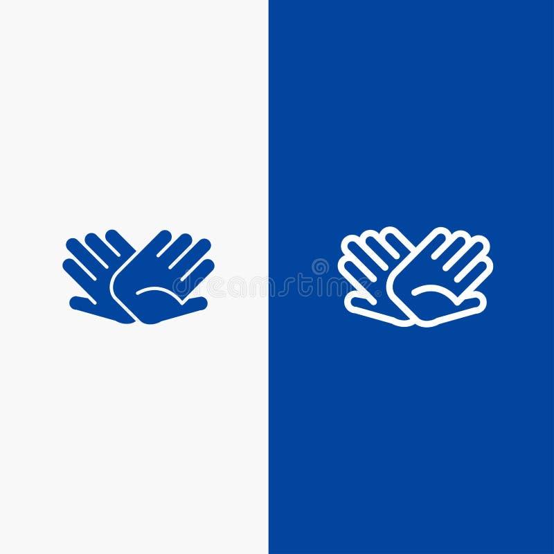 慈善、手,帮助,帮助,联系线和纵的沟纹坚实象蓝色旗和纵的沟纹坚实象蓝色横幅 皇族释放例证